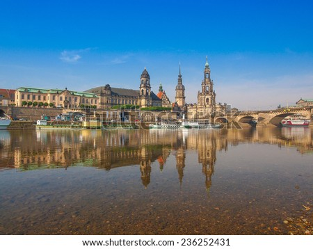 Dresden Cathedral of the Holy Trinity aka Hofkirche Kathedrale Sanctissimae Trinitatis in Dresden Germany seen from the Elbe river - stock photo