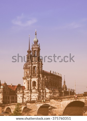 Dresden Cathedral of the Holy Trinity aka Hofkirche Kathedrale Sanctissimae Trinitatis in Dresden Germany vintage
