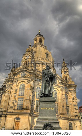 """Dresden """"Church of Our Lady"""" and statue of Martin Luther - stock photo"""