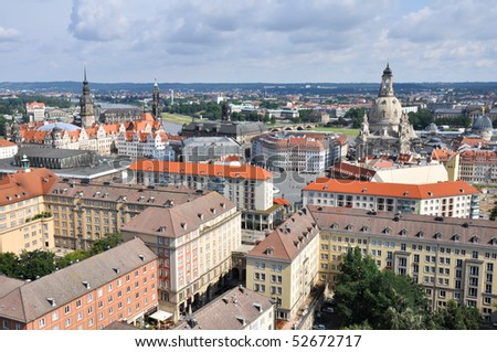 Dresden from city hall - stock photo