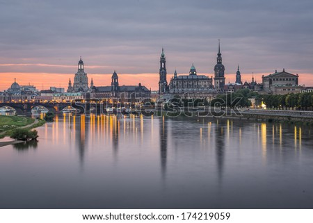 Dresden, Germany above the Elbe River at dawn