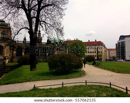 Dresden, Germany - April 24, 2016: Spring  view on National Dresden gallery