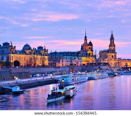 Dresden, Germany cityscape over the Elbe River. - stock photo