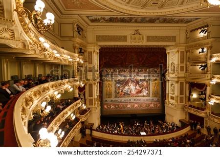 Dresden, Germany, January 04 2015: Balconies of Dresden Opera House indoor - stock photo