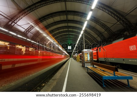 Dresden, Germany, January 06 2015: Trace of leaving the train at the Dresden Central Station - stock photo
