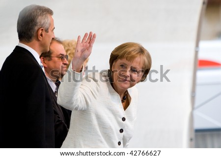 DRESDEN, GERMANY - JUNE 18: Chancellor Angela Merkel visits the CDU Party June 18, 2008 in Dresden, Germany. - stock photo