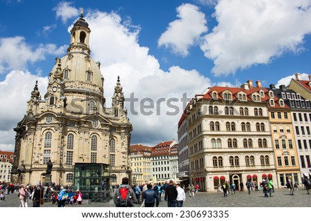 DRESDEN, GERMANY - JUNE, 26th, 2014: Frauenkirche (Church of Virgine Mary) one of most famous landmark of Dresden on 26th June 2013. - stock photo