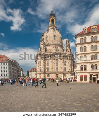 DRESDEN, GERMANY - 23 MAY, 2015: Church Frauenkirche on a sunny day with blue sky in Dresden, Germany on 23 May, 2015.