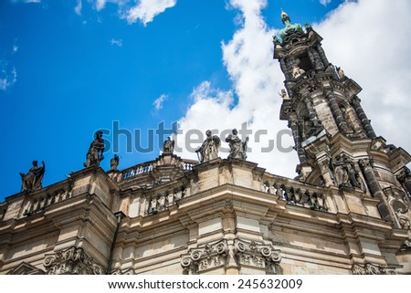 DRESDEN, GERMANY - MAY 12, 2013:  Historical and cultural center of Europe. Cathedral of the Holy Trinity aka Hofkirche Kathedrale Sanctissimae Trinitatis. Beautiful summer day.  - stock photo