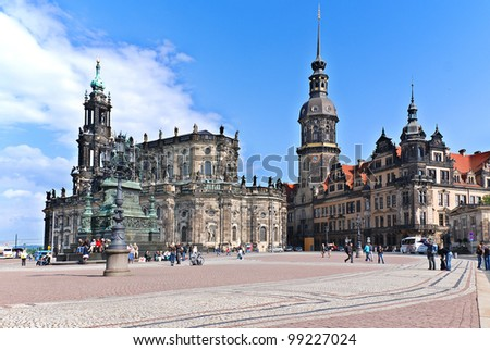 DRESDEN GERMANY-MAY 25: The Hofkirche stands as one of Dresden's foremost landmarks on May 25, 2010 in Dresden.The church was destroyed in the firebombing of Dresden during World War II.