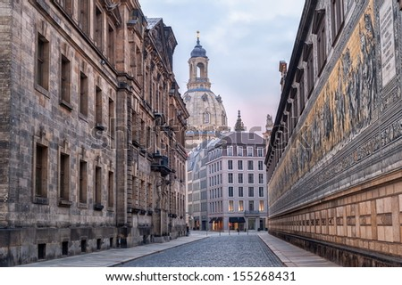 Dresden, Germany, mosaic wall and Frauenkirche cathedral in background - stock photo