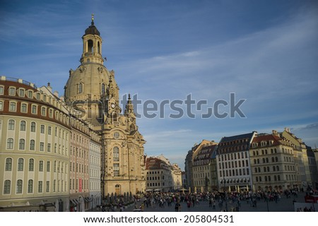 DRESDEN, GERMANY - NOV 4: Frauenkirche in Dresden, Saxony, Germany on November 4, 2013. The Church is an example of Protestant sacred architecture, featuring one of the largest domes in Europe.