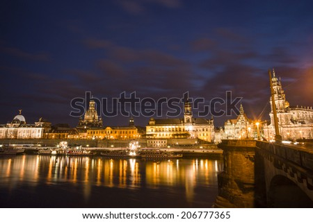 DRESDEN, GERMANY - NOV 4: The night view of architecture in Dresden, Germany on November 4, 2013. Dresden has a long history as the capital and royal residence for the Electors and Kings of Saxony.
