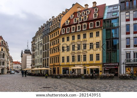 DRESDEN, GERMANY - NOVEMBER 10, 2014: Panoramic views of the Neumarkt Square. Neumarkt square is a central and culturally significant section of the Dresden inner city.