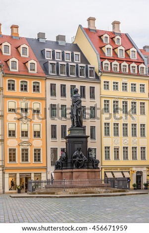DRESDEN, GERMANY - NOVEMBER 10, 2014: Street views in Dresden historic center. Dresden is the capital city of the Free State of Saxony.