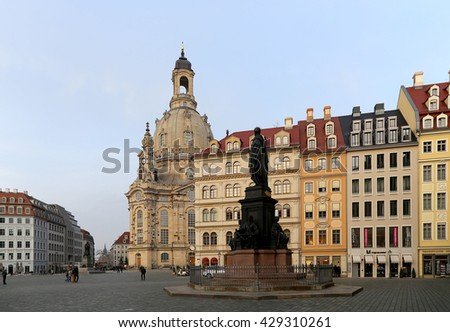 DRESDEN, GERMANY -  NOVEMBER 12, 2014: The Dresden Frauenkirche ( literally Church of Our Lady) is a Lutheran church in Dresden, Germany