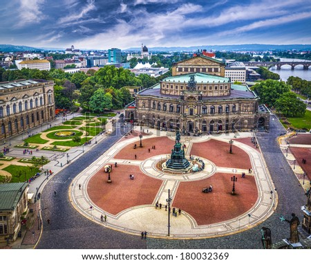 Dresden, Germany over Theater Square and the Semperoper Opera House. - stock photo