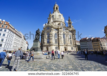 DRESDEN, GERMANY - SEPTEMBER 19, 2015: Church of Our Lady, The Lutheran baroque church located on Dresden's Neumarkt, seriously damaged by the Allied bombing in 1945, reconstructed in 1994-??2005