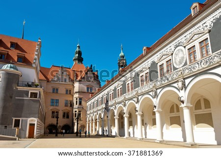 DRESDEN, GERMANY - SEPTEMBER 19: People walk on backyard Stallhof und Langer Gang in the center of Old town on September 19, 2015  in Dresden, Germany