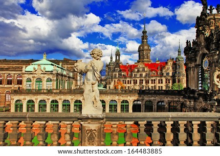 Dresden, Germany,view from Zwinger museum - stock photo
