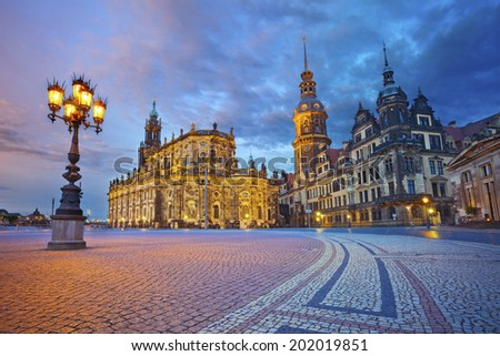 Dresden. Image of Dresden, Germany during twilight blue hour. - stock photo