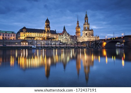 Dresden. Image of Dresden, Germany, during twilight blue hour with reflection of the city in Elbe River.