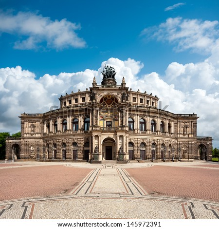 Dresden opera theatre, front view - stock photo