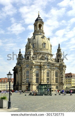 Dresden, Saxony, Germany - July 24, 2015: Tourists at the Church of Our Lady on the New Market of Dresden in Germany.