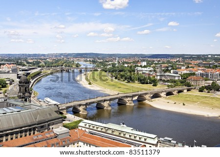 Dresden with a view to the river Elbe - stock photo
