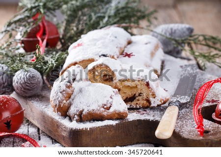 Dresdner stollen is a traditional German cake with raisins.Christmas treat.selective focus