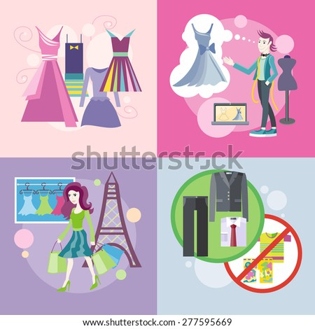 Dress code for the celebrations. Beautiful woman with a lot of shopping bags. Lifestyle shopping tours. Fashion designer working on his designs. Elegant dresses for fashion design. Raster version - stock photo