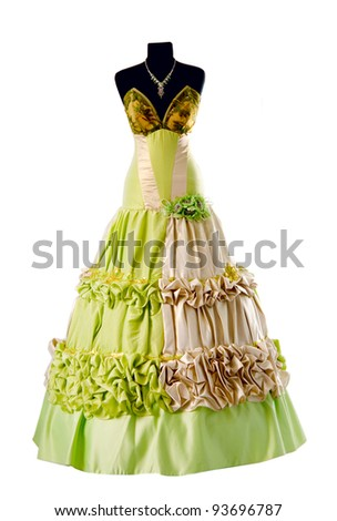 dress on a mannequin isolated on white background - stock photo