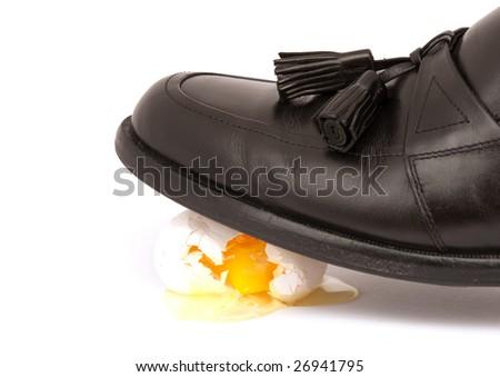 Dress Shoe Walking On Egg Shells - stock photo