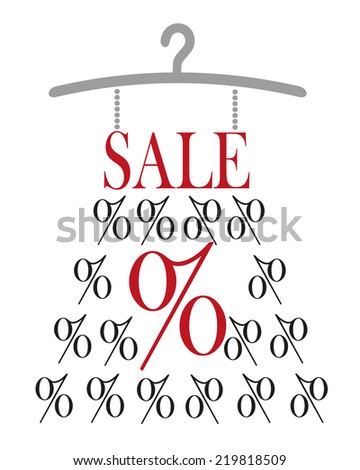 Dress with SALE label and percet sign on hanger - stock photo