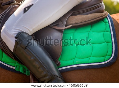 Dressage horse and rider girl - stock photo