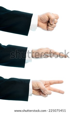 Dressed in a business suit caucasian male hand composition, set of rock, paper, scissors gestures, high-key light composition isolated over the white background - stock photo