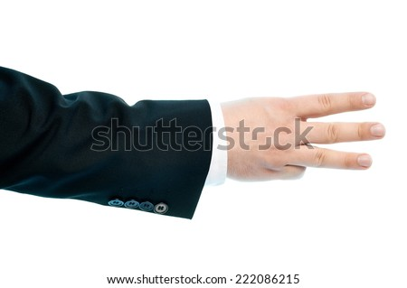 Dressed in a business suit caucasian male hand gesture of a number three sign, high-key light composition isolated over the white background - stock photo