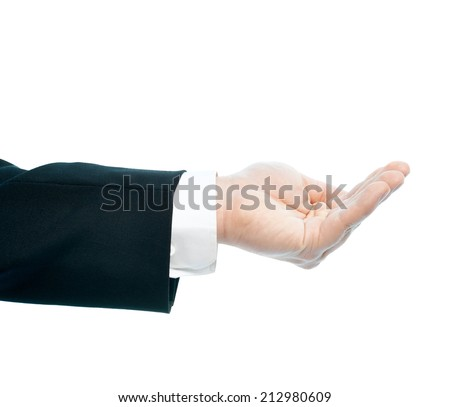 Dressed in a business suit caucasian male hand gesture of a slightly bent opened palm, high-key light composition isolated over the white background - stock photo