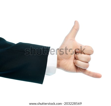 Dressed in a business suit caucasian male hand gesture of be in touch calling sign, high-key light composition isolated over the white background - stock photo
