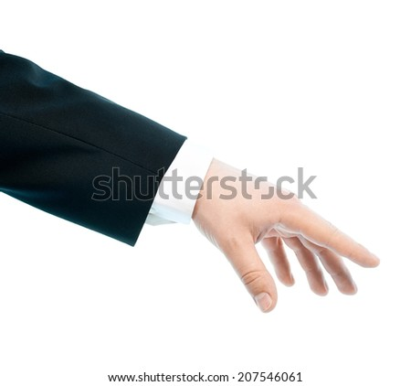 Dressed in a business suit caucasian male hand gesture of offering help, high-key light composition isolated over the white background - stock photo