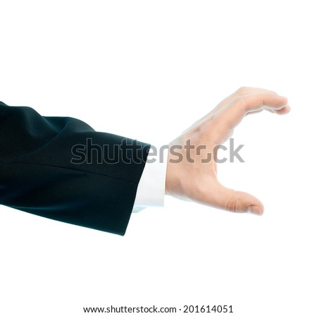 Dressed in a business suit caucasian male hand gesture of showing the size with two fingers, high-key light composition isolated over the white background - stock photo