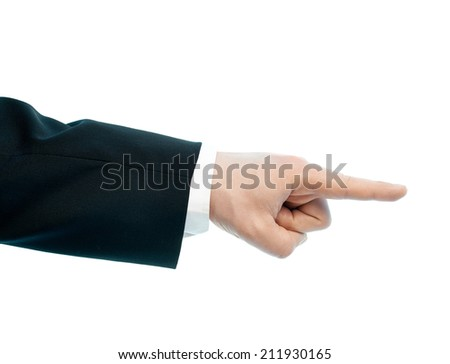 Dressed in a business suit caucasian male hand pointing gesture, high-key light composition isolated over the white background