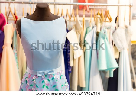 Dresses on the mannequins