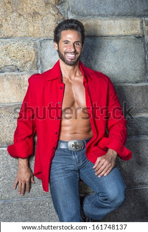 Dressing Red Long Sleeve Shirt Unbuttoned Stock Photo 161748137 ...