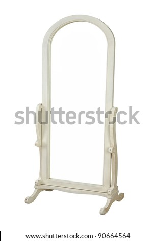 dressing mirror isolated on white - stock photo