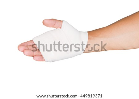 Dressing Patient's Hand With Bandage isolate white background