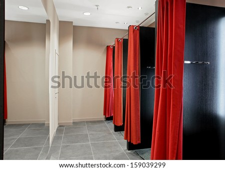 dressing room at european style clothes store - stock photo