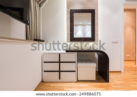 Dressing table in modern bedroom - stock photo