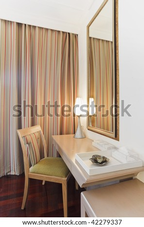 dressing table with chair and curtain design