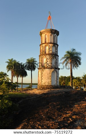 Dreyfus's tower in Kourou, French Guiana. The Dreyfus Tower was used to communicate with the Devil islands (penal colony) via Morse code. - stock photo